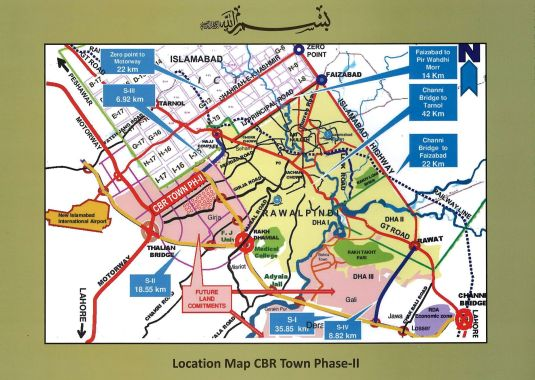 Location Map CBR Town Phase-II, Kot Kohlian, Rawalpindi.