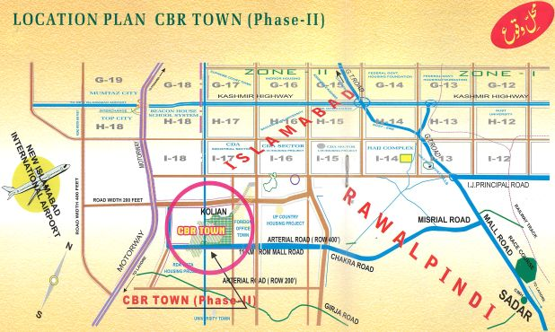 Location Plan CBR Town, Phase-II